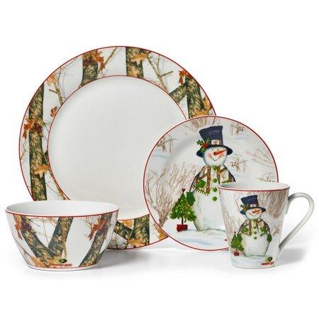 Mossy Oak Holiday Snowman 16-pc. Dinnerware Set
