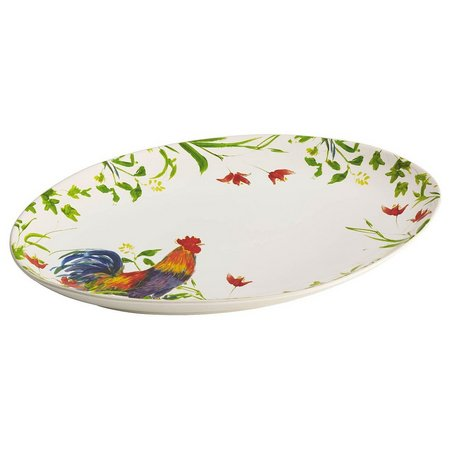 BonJour 9.75'' x 14'' Meadow Rooster Oval Platter