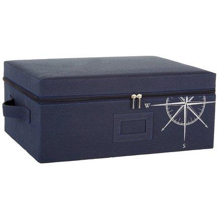 Enchante 16'' Blue Compass Zippered Storage Box