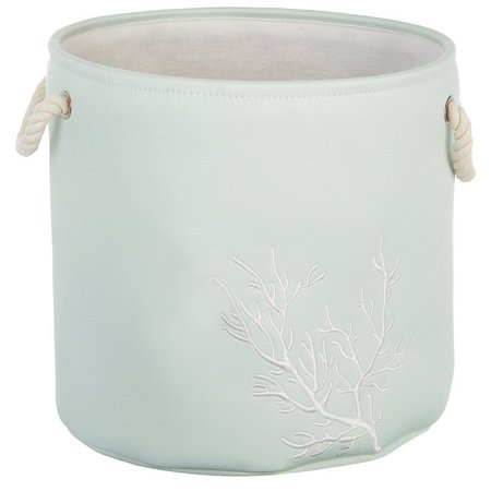 Enchante 15'' Mint Coral Print Round Storage Tote