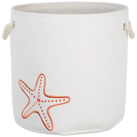 Enchante 17'' Starfish Print Round Storage Tote