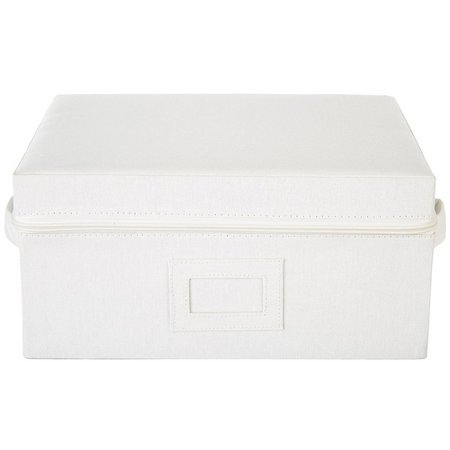 Enchante 13'' Ivory Stripe Zippered Storage Box
