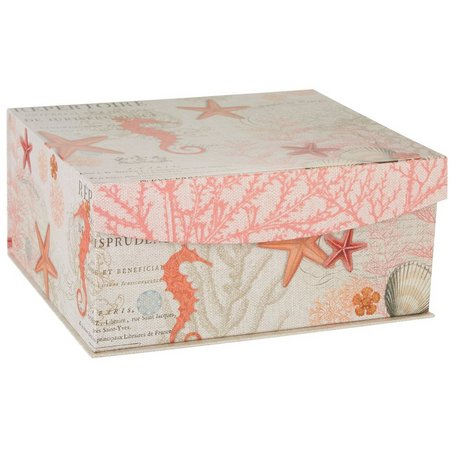 Enchante 14'' Coral Print Decorative Box
