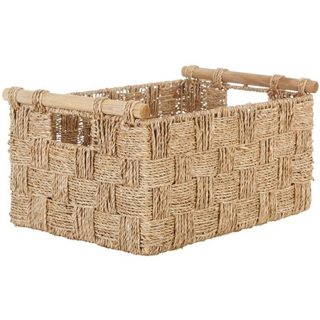 Straw Studios Woven Straw Basket With Wood Handles