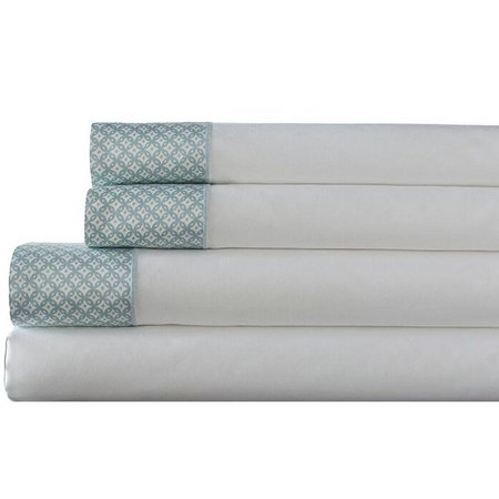 Elite Home Adara Cotton Printed Hem Sheet Set