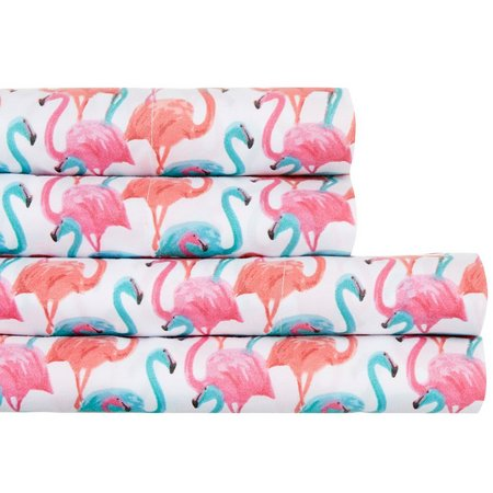 New! By The Seashore Flamingo Colors Sheet Set
