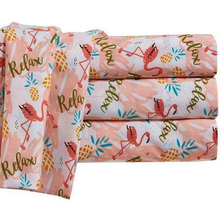By The Seashore Flamingos Relax Sheet Set
