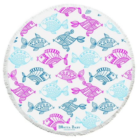 Bonita Beach Collection Rainbow Fish Roundie Towel