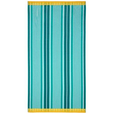Caribbean Joe Green Stripe Beach Towel