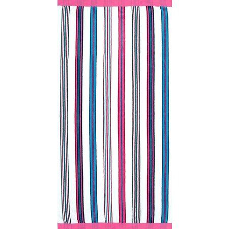 St. Tropez Fuchsia Blue Stripe Beach Towel