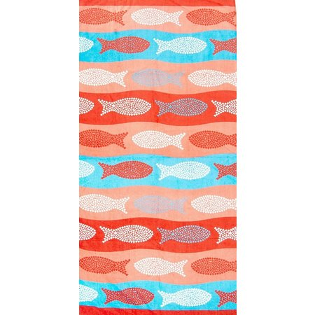 St. Tropez Polka Dot Fish Coral Beach Towel
