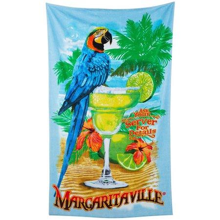 Margaritaville Jacquard Parrrot Sign Beach Towel