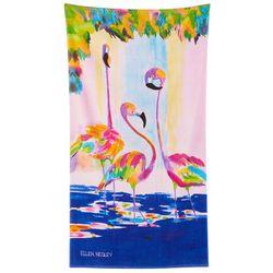 Ellen Negley Funky Flamingo Beach Towel
