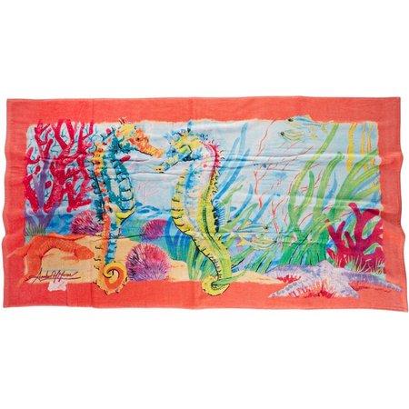Amber Moran Seahorse Garden Beach Towel