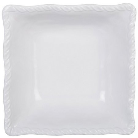 Coastal Home White Embossed Square Cereal Bowl