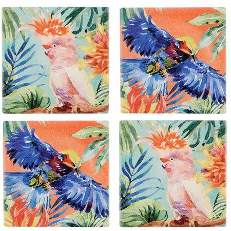 Coastal Home 4-pc. Tropical Bird Coaster Set
