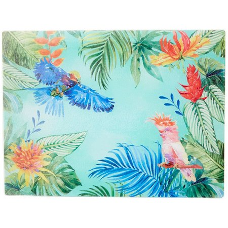 Coastal Home Large Tropical Birds Glass Cutting Board