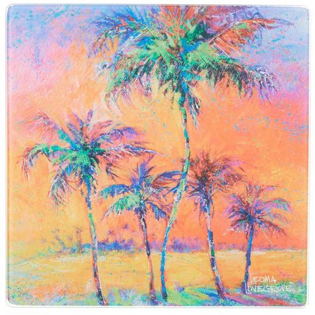 Leoma Lovegrove Parade of Palms Glass Trivet Plate