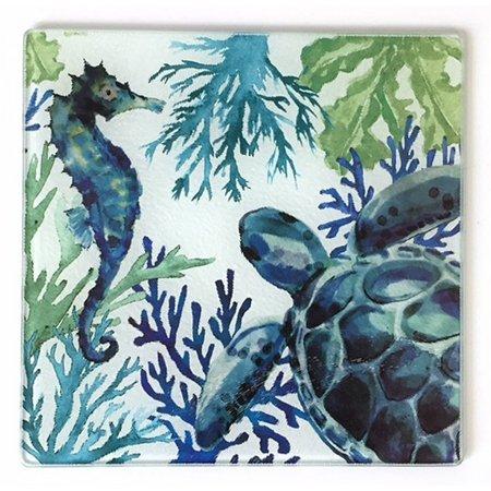 Coastal Home Sea Life Tempered Glass Trivet