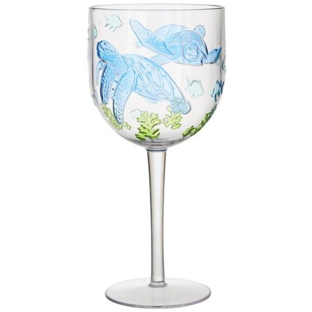 Coastal Home Seaventure Embossed Turtle Wine Goblet