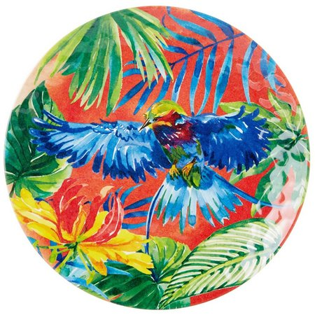 Coastal Home Tropical Birds Orange Dinner Plate
