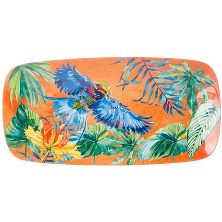 Coastal Home Tropical Birds Orange Oblong Tray