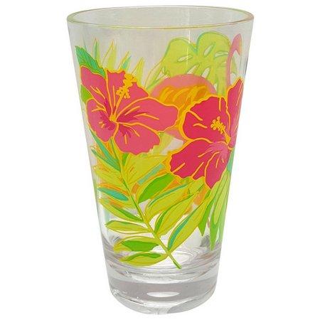 Coastal Home Flamingo Hibiscus Highball Glass