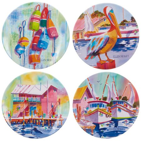 Ellen Negley 4-pc. Marina Appetizer Plate Set