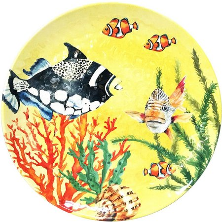 Coastal Home Creature Comfort Yellow Dinner Plate
