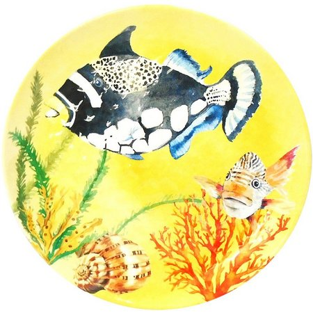 Coastal Home Creature Comfort Yellow Salad Plate