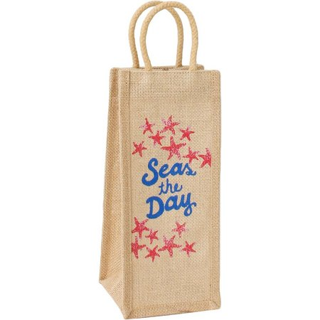 Thro Seas The Day Jute Wine Bottle Bag