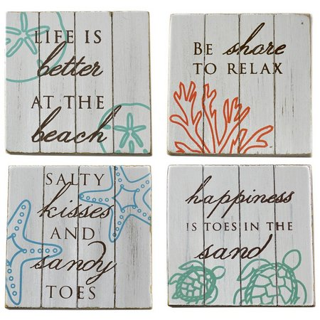 Coastal Home 4-pc. Wood Plank Coaster Set
