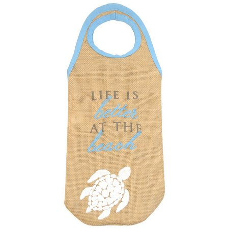Coastal Home Sea Turtle Jute Wine Bottle Bag