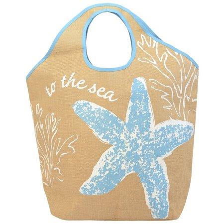 Coastal Home To The Sea Starfish Jute Tote