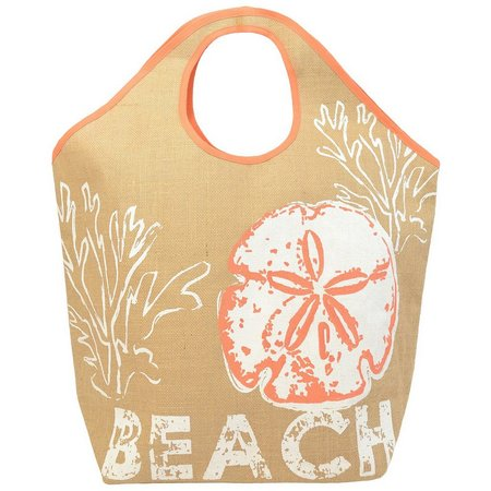 Coastal Home Sand Dollar Beach Jute Tote Bag