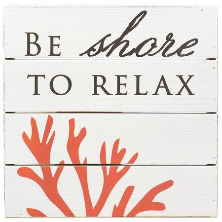 Coastal Home Coral Wood Plank Box Sign