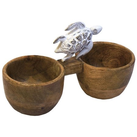 Coastal Home Turtle Wood Double Dip Bowl