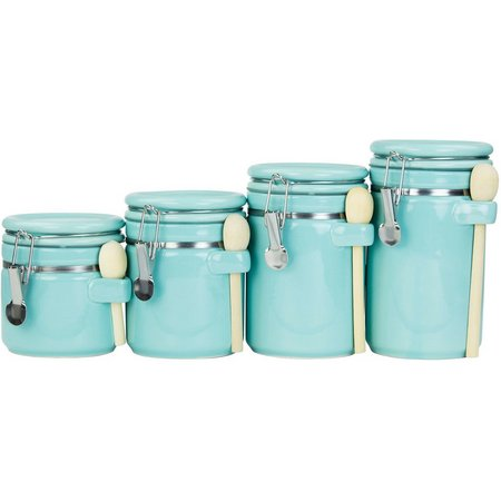 Home Basics 4-pc. Ceramic Canister & Spoon Set