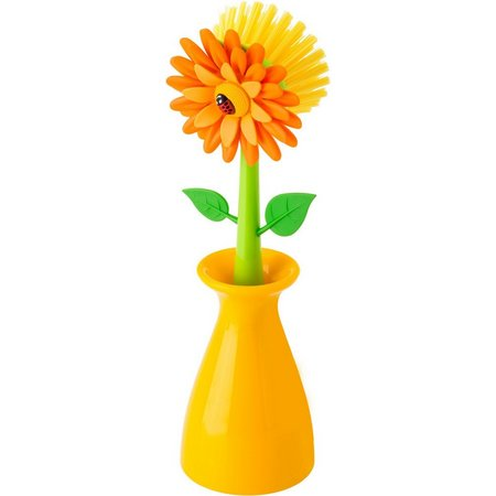 Vigar Flower Power Yellow Dish Brush & Vase