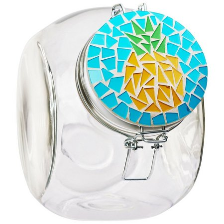 Amici Home 72 oz. Mosaic Pineapple Glass Canister