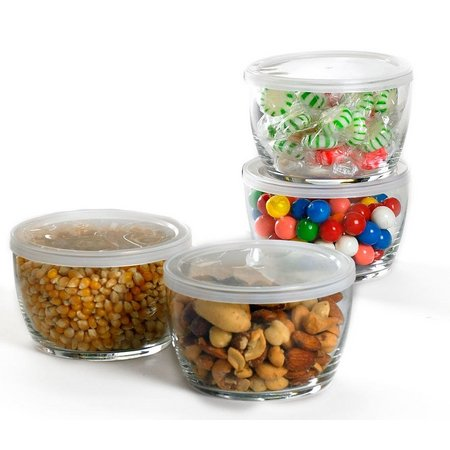 Libbey 4 Piece Glass Storage Bowls w/ Lids