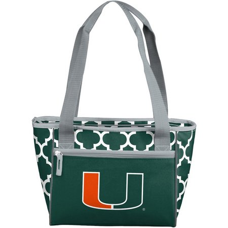 Miami Hurricanes Quatrefoil 16 Can Cooler
