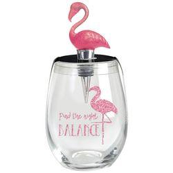New! Wild Eye Designs 2-pc. Flamingo Wine Glass