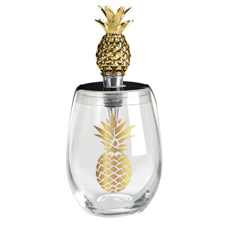 Wild Eye Designs 2-pc. Gold Pineapple Goblet Set