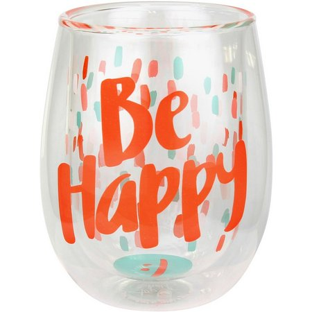 Style & Home 13 oz. Be Happy Stemless