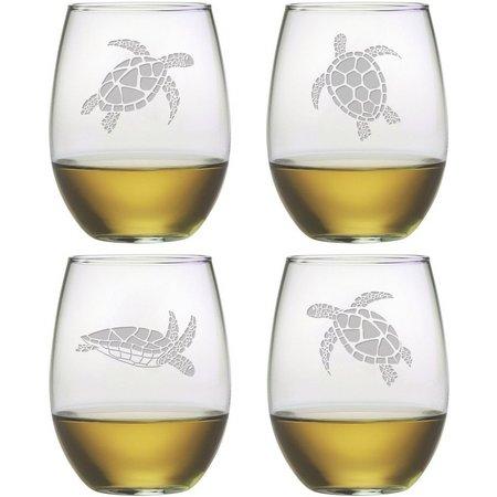 Susquehanna Glass 4-pc. Sea Turtle Stemless Set