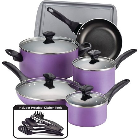 Farberware 15-pc. Nonstick Purple Cookware Set