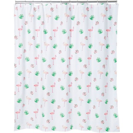 CHF Preppy Leaf Flamingo Shower Curtain