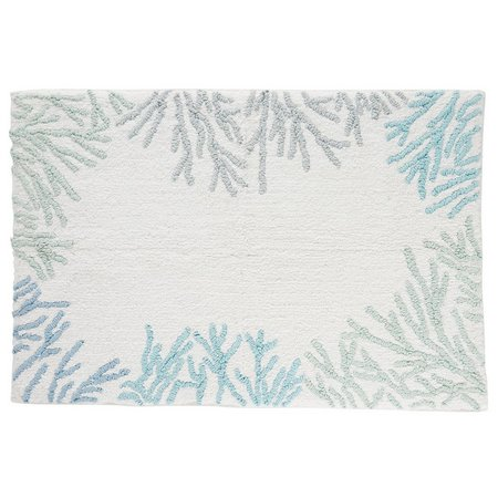 CHF Sea Reef Multicolor Coral Border Bath Rug