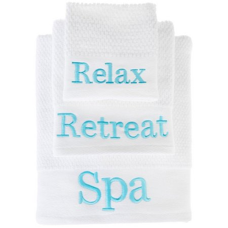 American Dawn Teal Spa Words Towel Collection